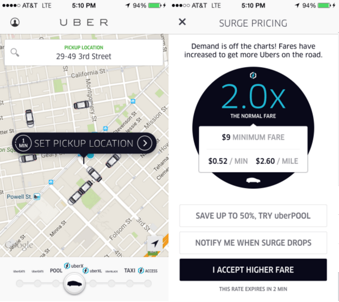 how to tell uber surge pricing